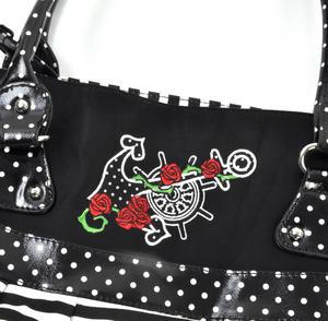 Rose Anchor Tattoo Black & White Striped Large Shopping / Shoulder Bag Thumbnail 3