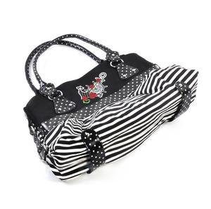 Rose Anchor Tattoo Black & White Striped Large Shopping / Shoulder Bag Thumbnail 4