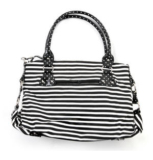Rose Anchor Tattoo Black & White Striped Large Shopping / Shoulder Bag Thumbnail 5