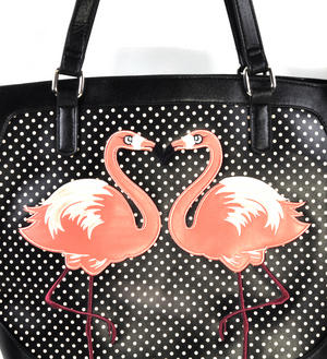 Flamingos Black & White Spotted Large Shopping / Shoulder Bag Thumbnail 2