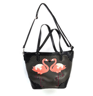 Flamingos Black & White Spotted Large Shopping / Shoulder Bag Thumbnail 6