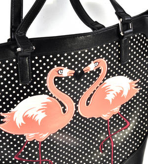 Flamingos Black & White Spotted Large Shopping / Shoulder Bag Thumbnail 7