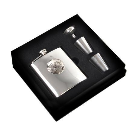 Welsh Dragon 6oz Hip Flask Presentation Box Set with Funnel