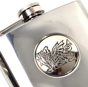 Welsh Dragon 6oz Hip Flask Presentation Box Set with Funnel Thumbnail 4