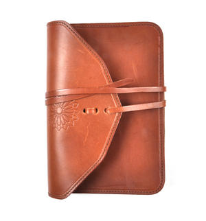 Juzdaan Tan Leather Koran Book Case with Alquram Alkarim Embossed Text Thumbnail 1