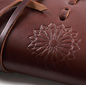 Juzdaan Chestnut Leather Koran Book Case with Alquram Alkarim Embossed Text Thumbnail 6