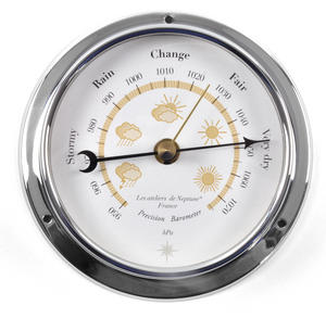 Yellow Cloud Dial Barometer  - Polished Brass / Chromed / Varnished WEA 1000 J - CH 115 x 95 x 35mm