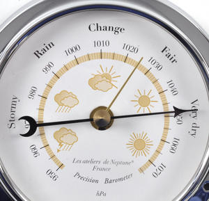 Yellow Cloud Dial Barometer  - Polished Brass / Chromed / Varnished WEA 1000 J - CH 115 x 95 x 35mm Thumbnail 2
