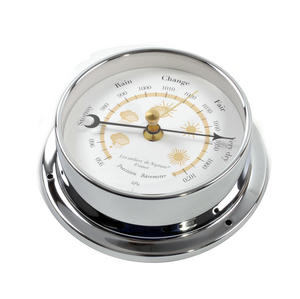 Yellow Cloud Dial Barometer  - Polished Brass / Chromed / Varnished WEA 1000 J - CH 115 x 95 x 35mm Thumbnail 3