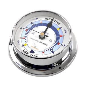 Blue Dial Tide Clock - Polished Brass / Chromed / Varnished TC 1000B - CH 115 x 95 x 35mm Thumbnail 4