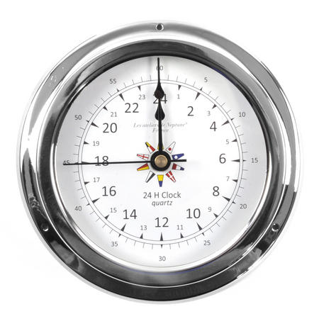 24 Hour Clock Flag Dial  - Polished Brass / Chromed / Varnished C24H 2000D - CH 145 x 120 x 40mm