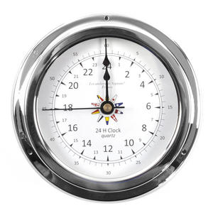 24 Hour Clock Flag Dial  - Polished Brass / Chromed / Varnished C24H 2000D - CH 145 x 120 x 40mm Thumbnail 1
