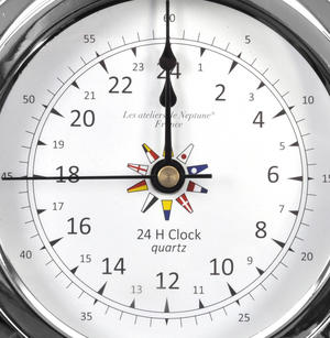 24 Hour Clock Flag Dial  - Polished Brass / Chromed / Varnished C24H 2000D - CH 145 x 120 x 40mm Thumbnail 2