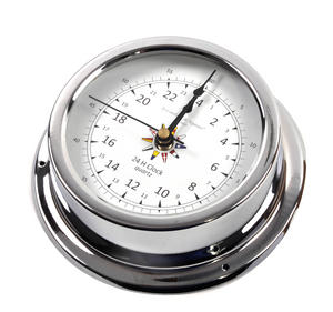 24 Hour Clock Flag Dial  - Polished Brass / Chromed / Varnished C24H 2000D - CH 145 x 120 x 40mm Thumbnail 3