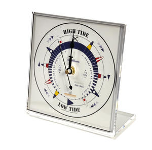 White Dial Square Standing Tide Clock - Acrylic TC 1010 A - ACR 150 x 150mm Thumbnail 1
