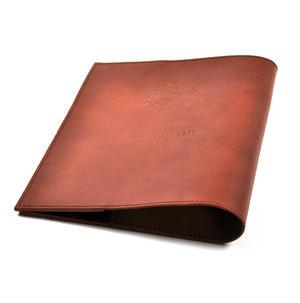 Khimaar Tan Leather Koran Book Sleeve with Alquram Alkarim Embossed Text Thumbnail 1