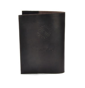 Khimaar Brown Leather Koran Book Sleeve with Alquram Alkarim Embossed Text Thumbnail 6