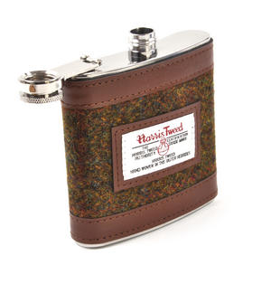 Stornoway Multi Weave Harris Tweed Hip Flask