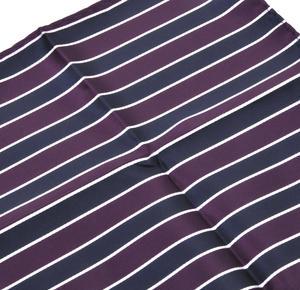 Navy & Maroon Striped Pocket Square Handkerchief Thumbnail 2