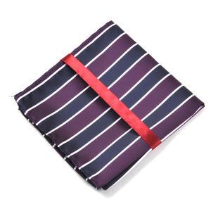 Navy & Maroon Striped Pocket Square Handkerchief Thumbnail 3
