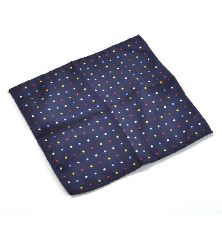Navy Spotted Pocket Square Handkerchief