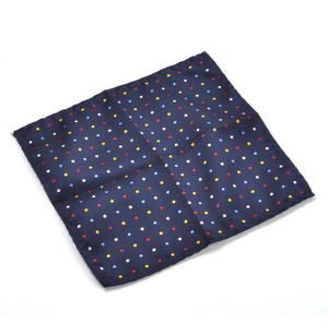 Navy Spotted Pocket Square Handkerchief Thumbnail 1