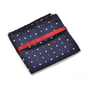 Navy Spotted Pocket Square Handkerchief Thumbnail 3