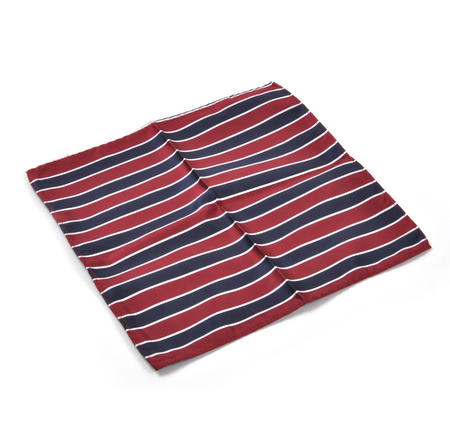 Navy & Red Striped Pocket Square Handkerchief