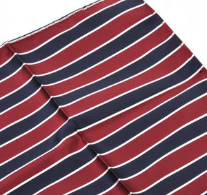 Navy & Red Striped Pocket Square Handkerchief Thumbnail 2