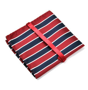 Navy & Red Striped Pocket Square Handkerchief Thumbnail 3