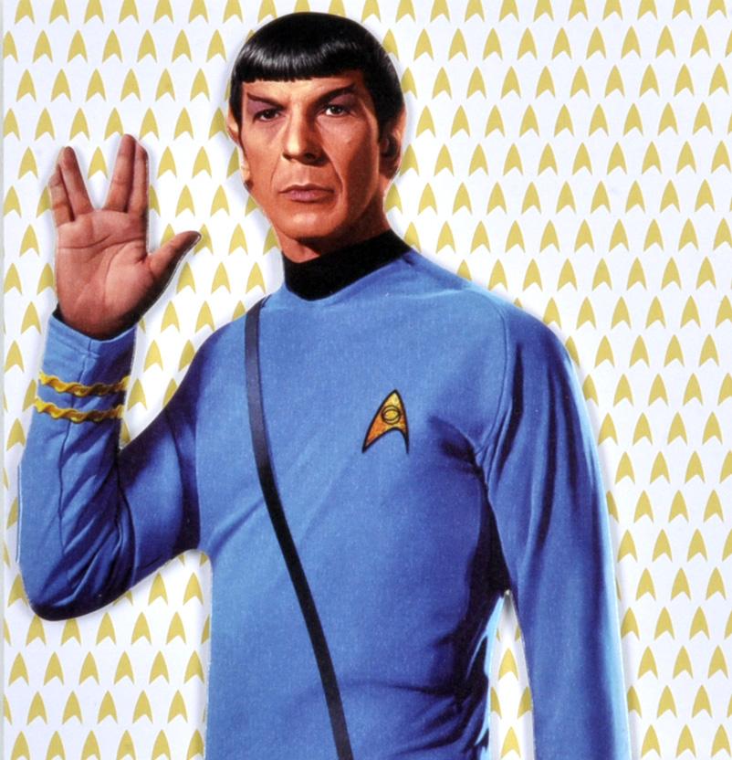 Mr spock star trek greeting card with sticker sheet