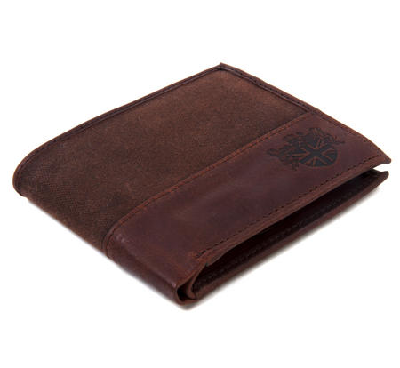 Brown Wax Canvas & Leather Credit Card Wallet