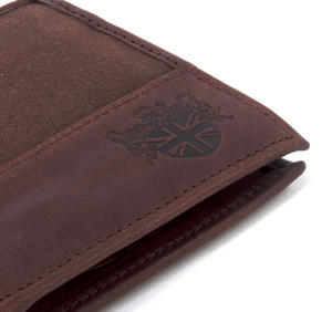 Brown Wax Canvas & Leather Credit Card Wallet Thumbnail 2