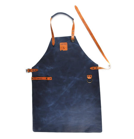 Mr. Smith Cheese Apron - Blue Leather Culinary Apron by Boska