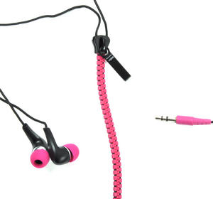 Pink Zipper Earphones / Headphones Thumbnail 1
