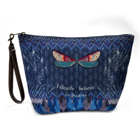 Dragonfly / La Libellule - I Clearly Believe in Dreams - Curiosités Sauvages Make Up Bag / Grande Trousse