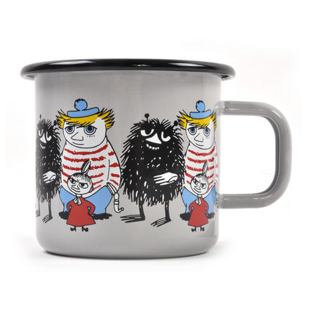 Moomin Friends - Stinky, Little My & Too-Ticky Grey Moomin Muurla Enamel Mug - 37 cl