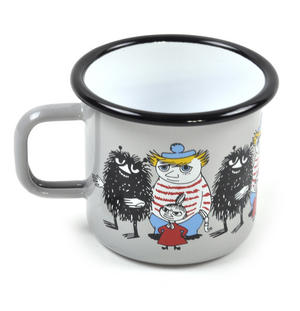 Moomin Friends - Stinky, Little My & Too-Ticky Grey Moomin Muurla Enamel Mug - 37 cl Thumbnail 2
