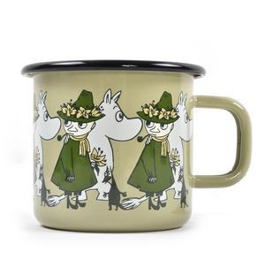 Moomin Friends - Snufkin & Sniff Green Moomin Muurla Enamel Mug - 37 cl Thumbnail 1