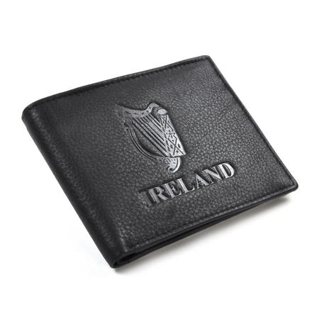 Ireland Black Embossed Leather Wallet with Coin Compartment