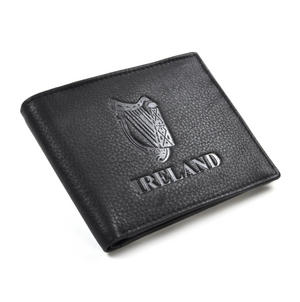 Ireland Black Embossed Leather Wallet with Coin Compartment Thumbnail 1