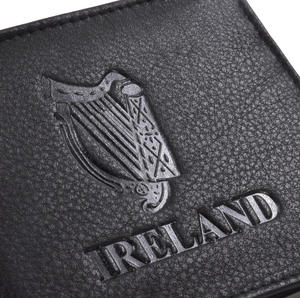 Ireland Black Embossed Leather Wallet with Coin Compartment Thumbnail 2