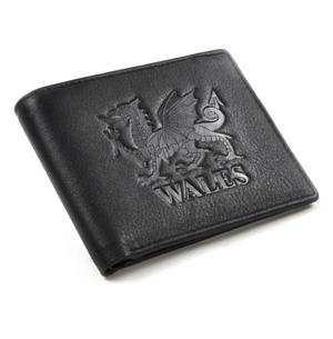 Wales Black Embossed Leather Wallet with Coin Compartment