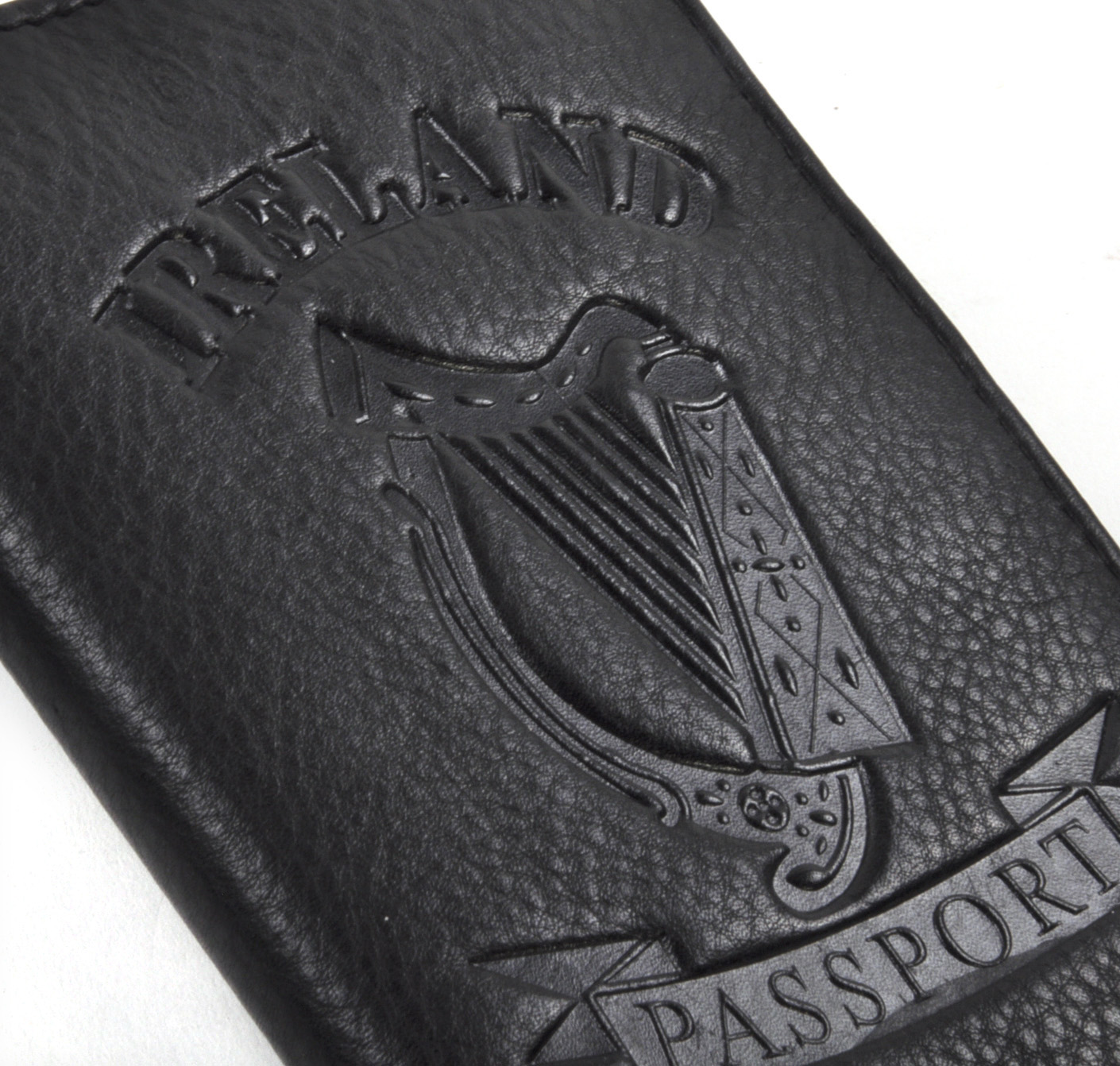 Ireland Black Embossed Leather Passport Wallet With Green