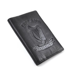 Ireland Black Embossed Leather Passport Wallet with Green Leather Lining
