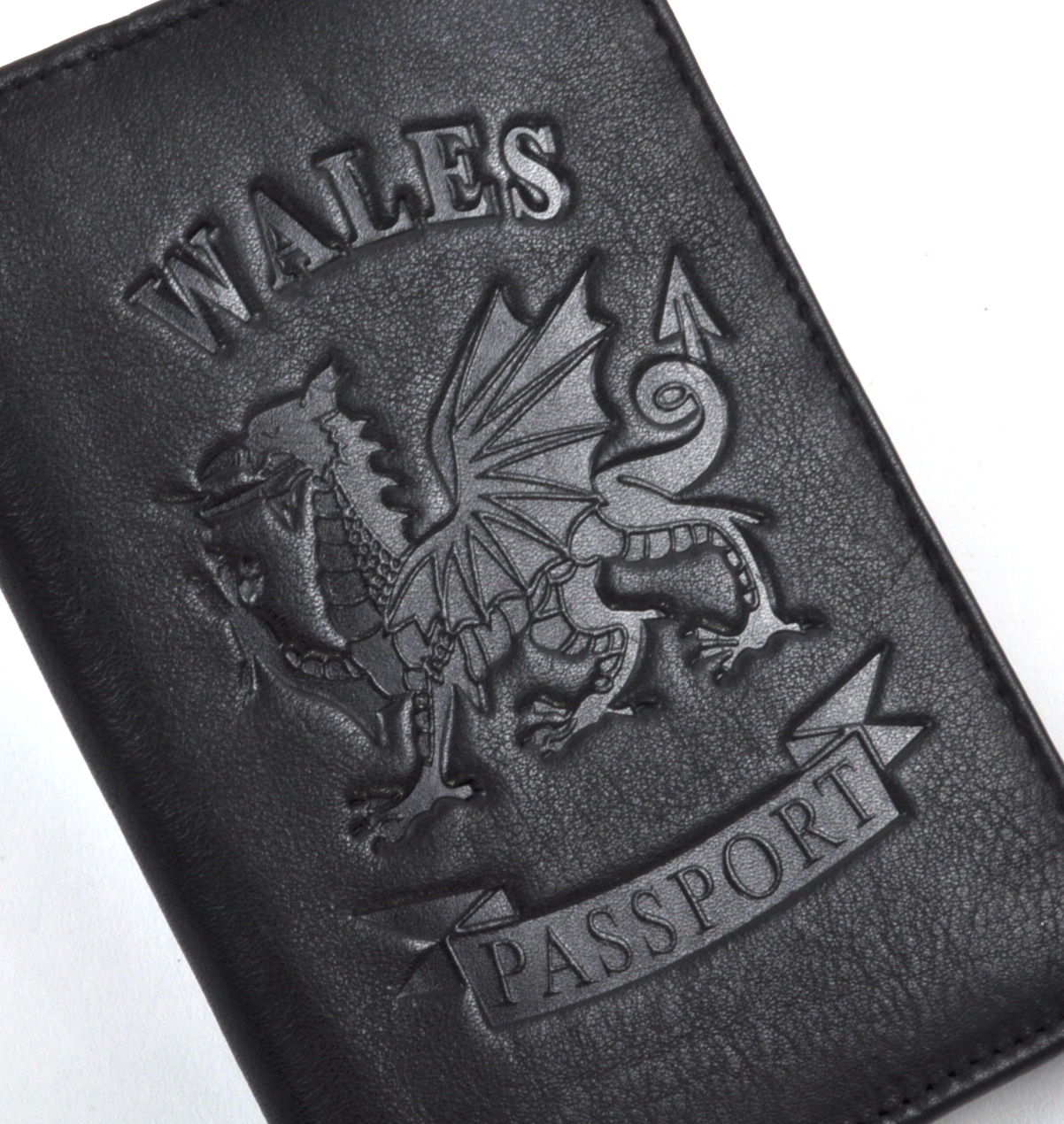 Wales Black Embossed Leather Passport Wallet with Red Leather Lining ... 581e9d595031
