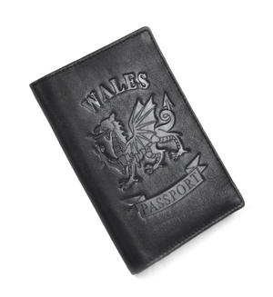 Wales Black Embossed Leather Passport Wallet with Red Leather Lining