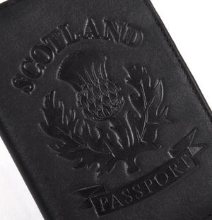 Scotland Black Embossed Leather Passport Wallet with Blue Leather Lining Thumbnail 2