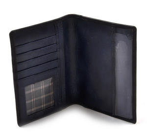 Scotland Black Embossed Leather Passport Wallet with Blue Leather Lining Thumbnail 3