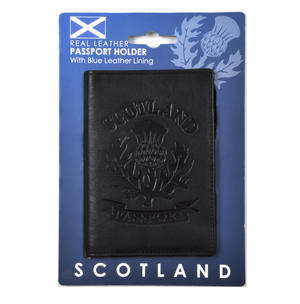 Scotland Black Embossed Leather Passport Wallet with Blue Leather Lining Thumbnail 4
